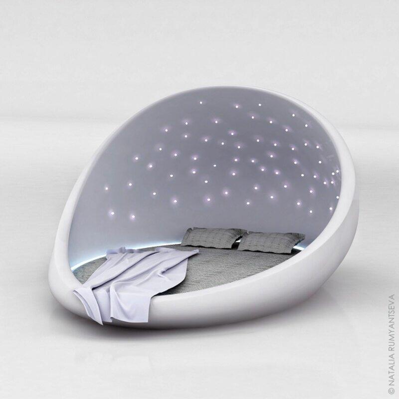 Необычная кровать под звездным куполом