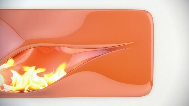 Красивый камин - имитация пламени
