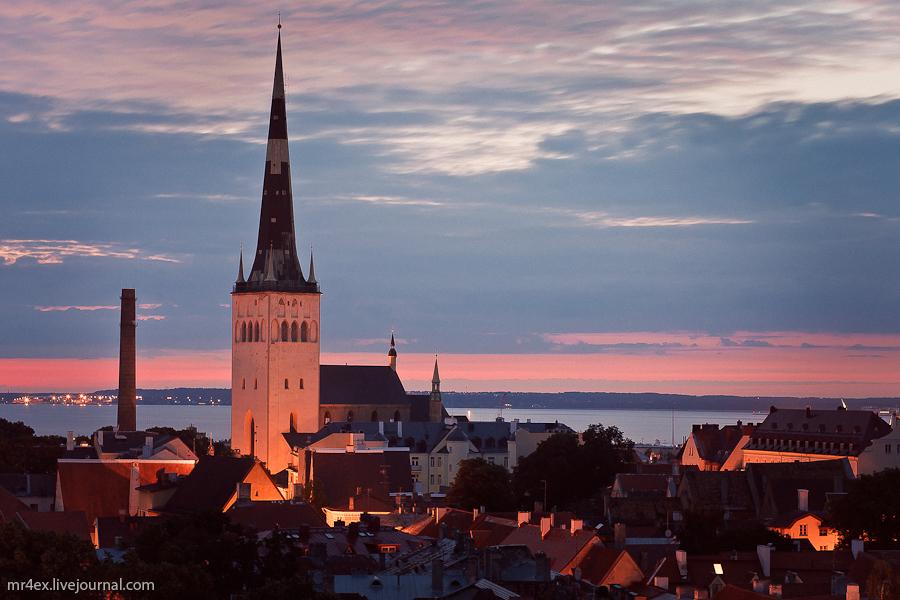 Эстония, Ночной Таллин, Старый город, Церковь Олевисте, церковь Святого Олафа