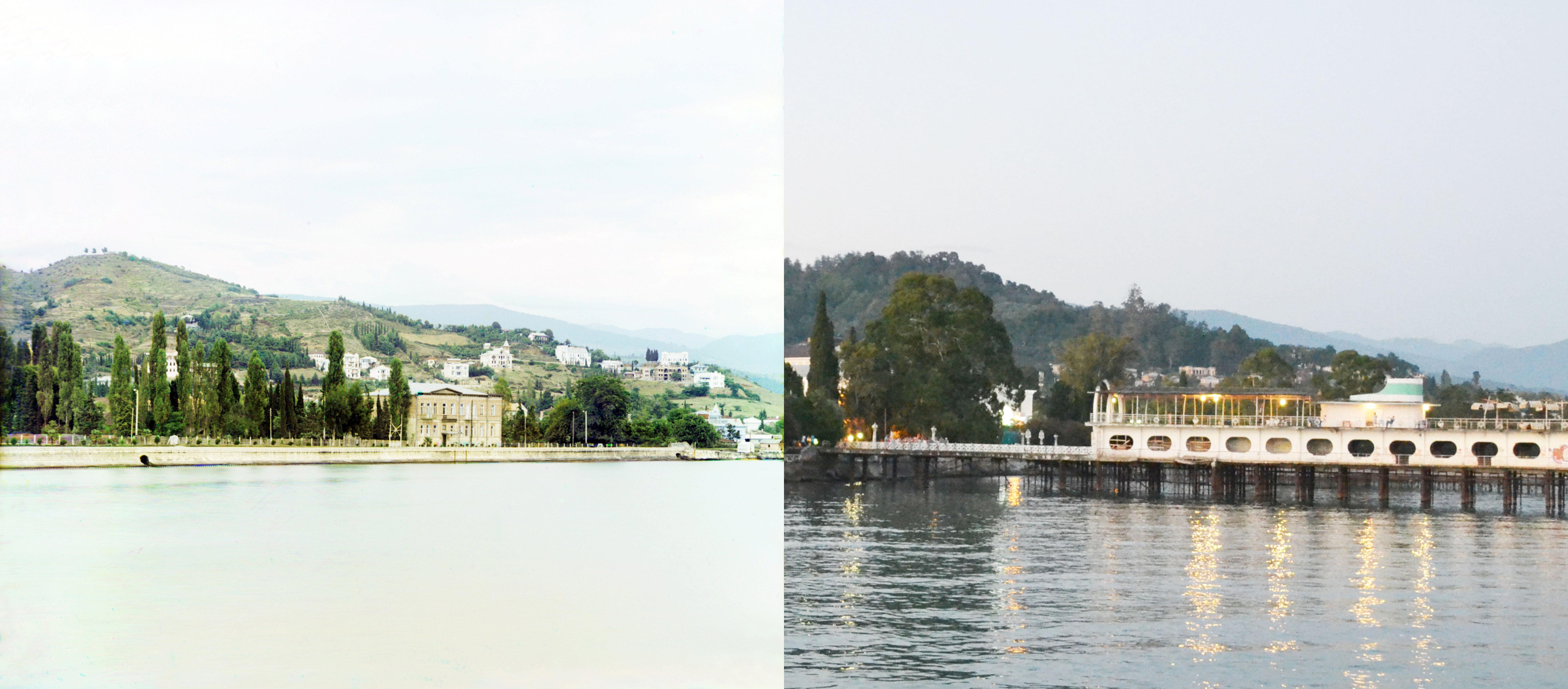 Сухум с моря в 1912 и 2015 годах