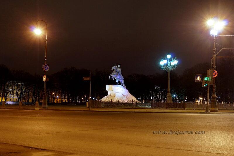 Медный всадник, 7.08.1782г., ночной Санкт-Петербург