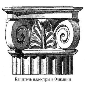 Ионическая капитель палестры в Олимпии, чертеж