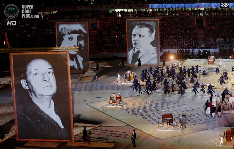 Giant portraits of Russian historical figures are seen during the closing ceremony for the 2014 Sochi Winter Olympics