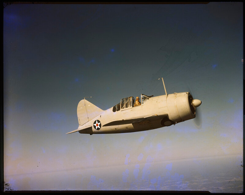 Right side aerial view of US Navy Brewster F2A-1 Buffalo (BuNo 1393), ca. 1941.