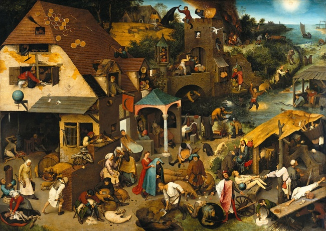 Питер Брейгель Старший, «Нидерландские пословицы», 1559 Питер Брейгель Старший изобразил землю, насе