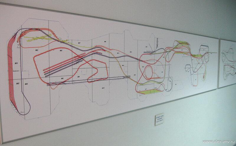 На стенах развешаны схемы железнодорожных путепроводов и развязок.