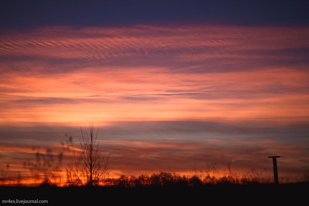 Закат, пейзаж, природа