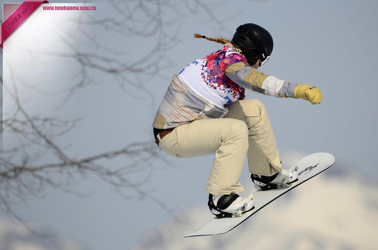 Россия. 16 февраля. Жаклин Эрнандес из США во время соревнования по сноуборд-кроссу. (JAVIER SORIANO/AFP/Getty Images)