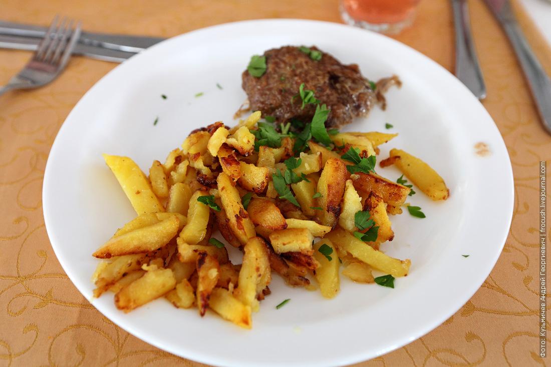 Шницель рубленый, картофель жареный