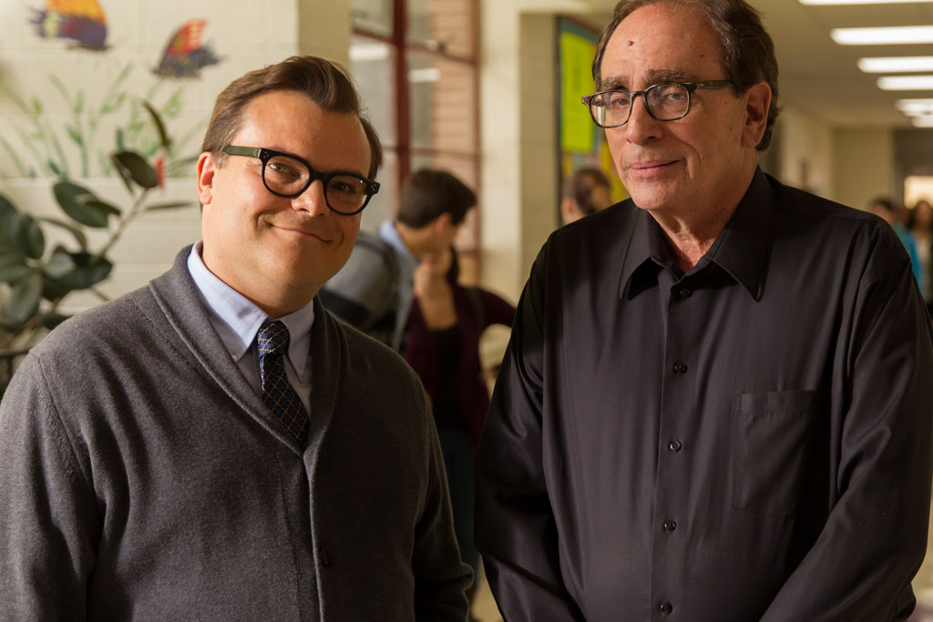 "Jack Black, left, and R.L. Stine on the set of Columbia Pictures' ""Goosebumps."" - Goosebumps"