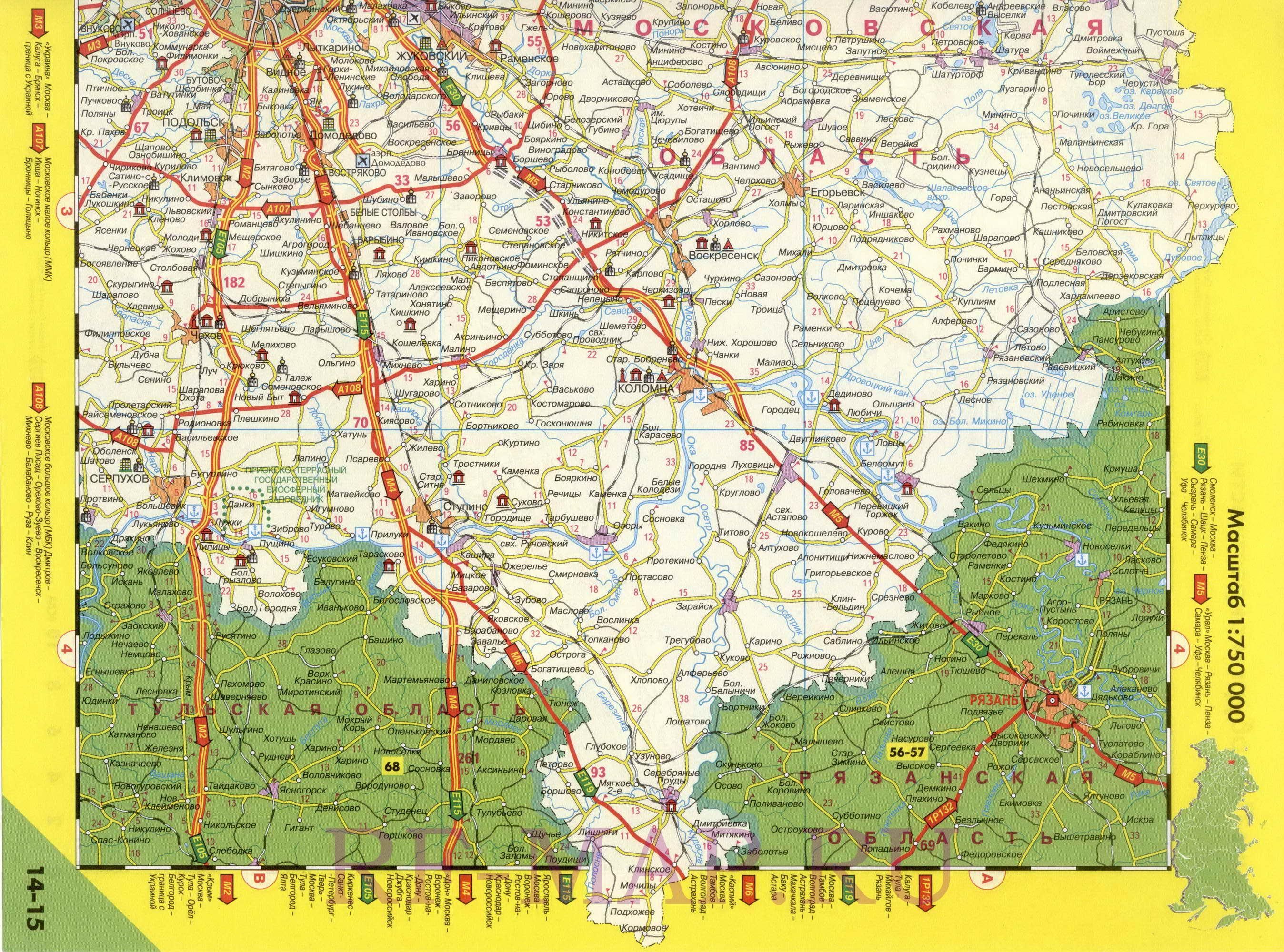 Скачать карту московской области на компьютер