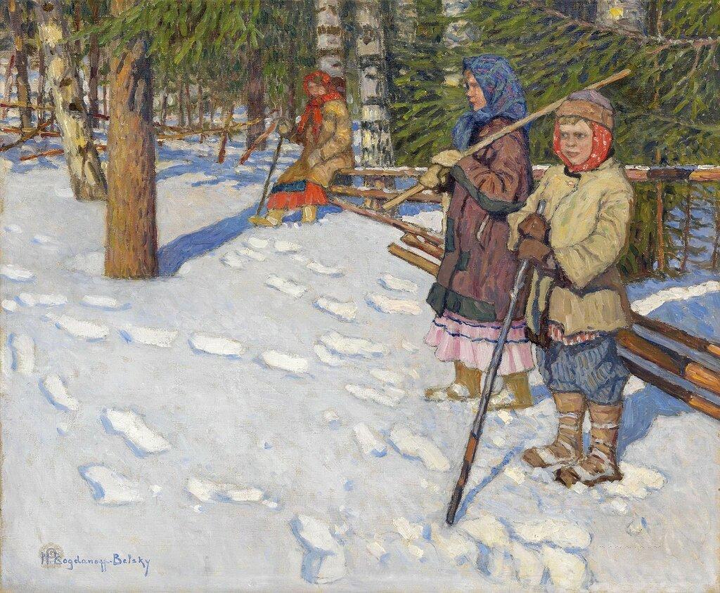 Богданов-Бельский: Дети в зимнеим лесу  Частная коллекция54х65.5