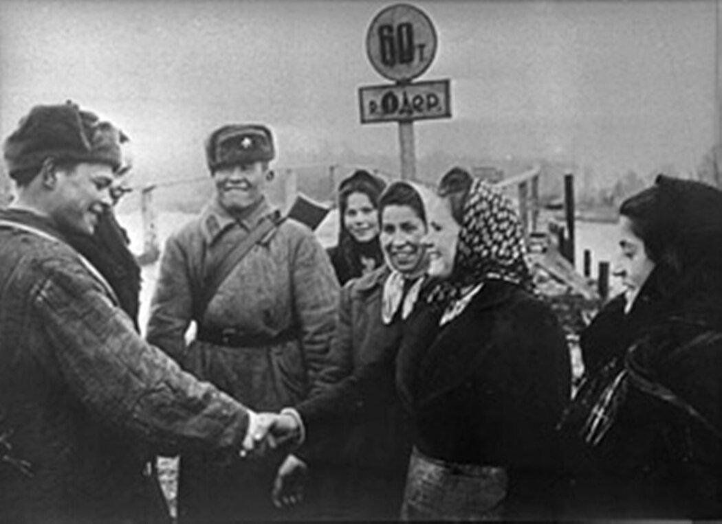Встреча с жителями. 1945 год.