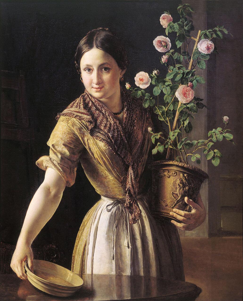 Девушка с горшком роз 1850. Холст, масло. 100х81 см.jpg