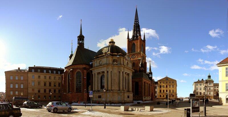 Церковь Риддархольмена Стокгольм - Riddarholmskyrkan - Riddarholmen Church Stockholm - 2013-03 панорама
