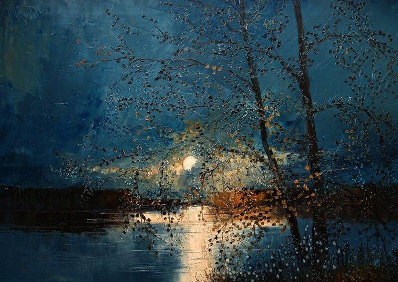 Спит Луна над морем ласковым, Нежно волны серебря...Художница Юстина Копанья (Justyna Kopania)