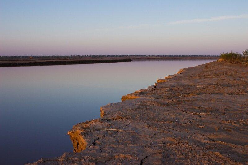 рассвет на реке Хуанхэ во внутренней монголии