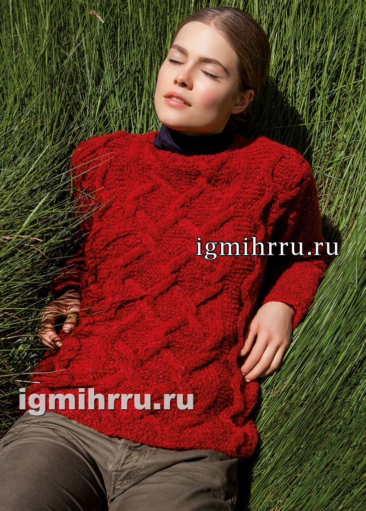 Красный джемпер с косами и крупными ромбами. Вязание спицами