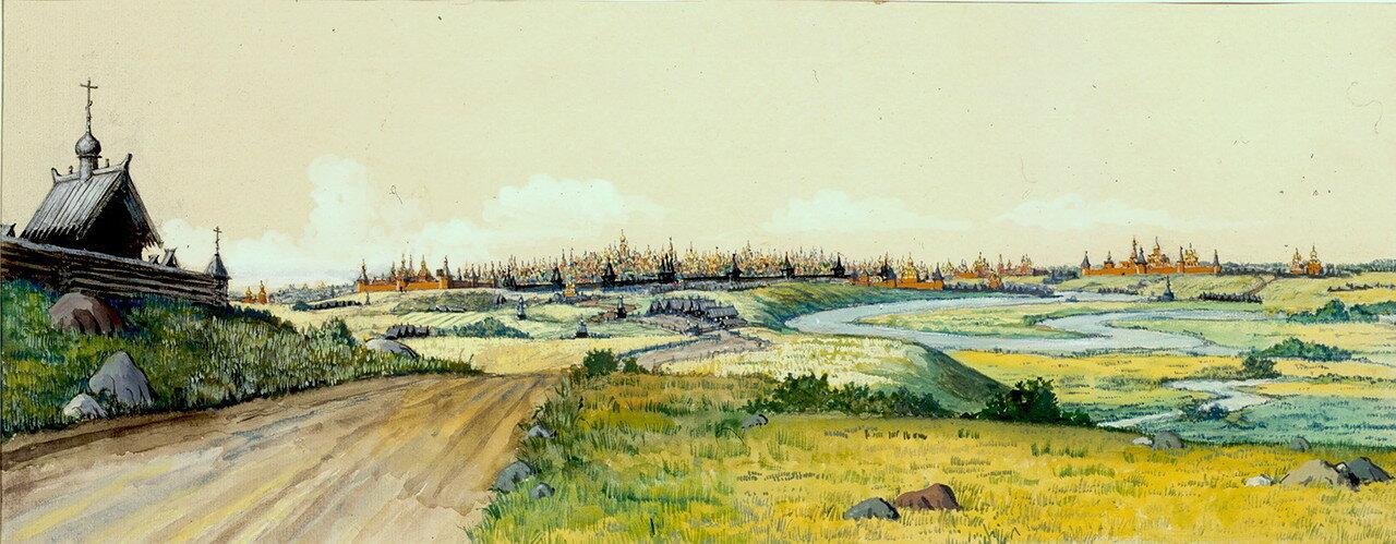 Панорама южной линии монастырей-сторож с Серпуховской дороги..jpg