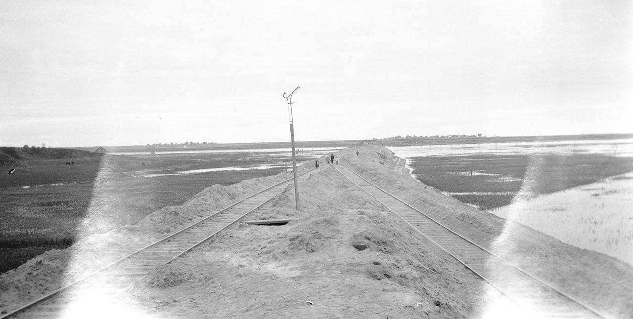 Участок железнодорожной насыпи с разветвлением путей