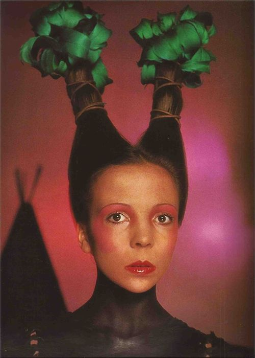 Penelope Tree photographed by David Bailey for Vogue Italia, June 1970. Makeup by Serge Lutens, hair by Aldo Coppola