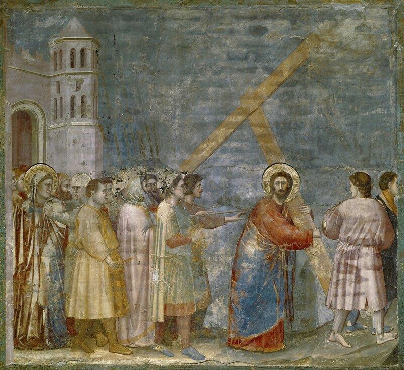 Giotto   Title  Christ Carrying the Cross   Work Type  fresco   Date  c. 1305   Location  Cappella degli Scrovegni nell'Arena (Padua, Italy)