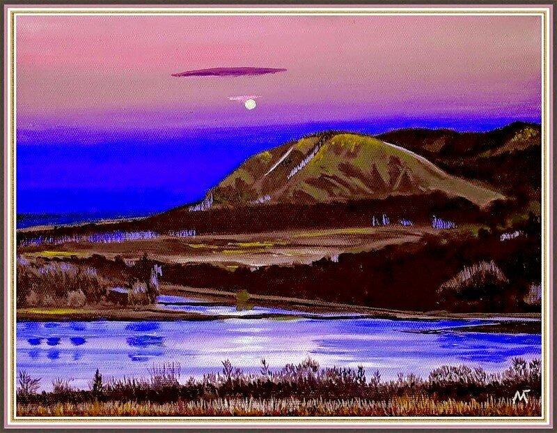 Вечерний пейзаж в полнолуние