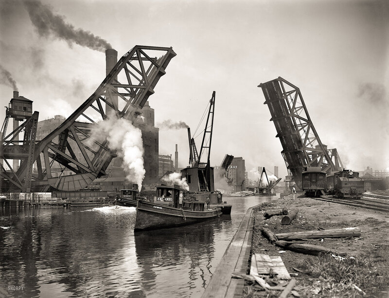 Chicago circa 1900. 12th Street bascule bridge. Andy about to overtake A.B. Ward on the Chicago River
