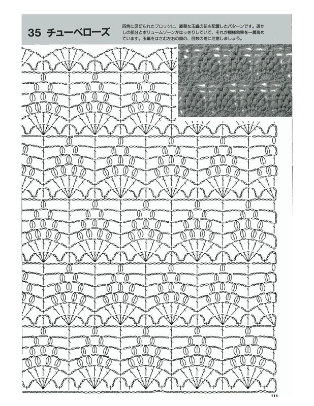 Схема прямого вязания крючком 832