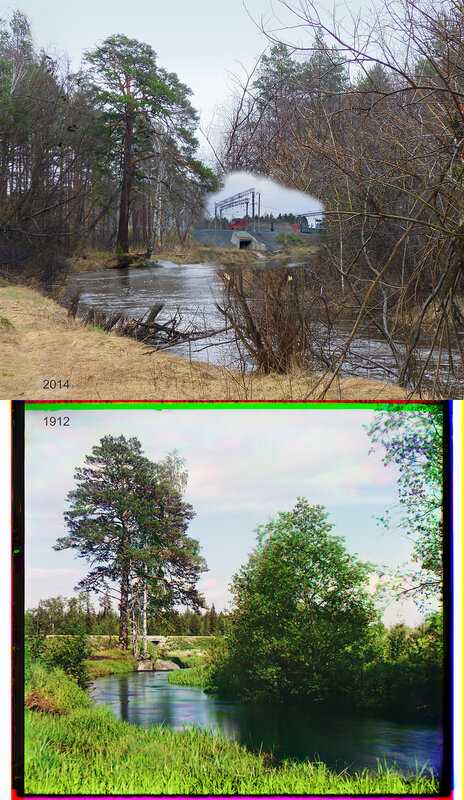 Река Решетка в 4 в. от деревни Решета (видна Кунгурская жел. дор. ветка).
