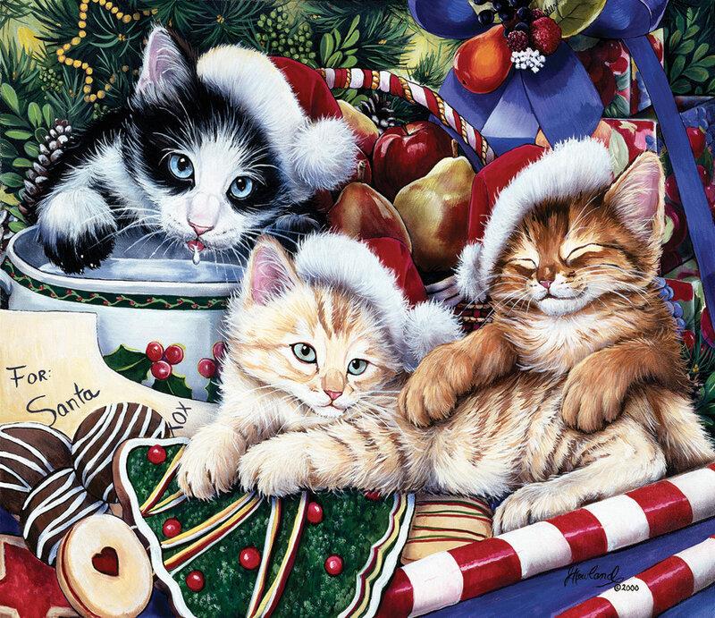 Картинки с новым годом с кошками, коллажи поздравления днем