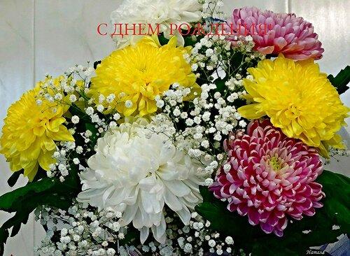 открытки с 5 хризантемеми