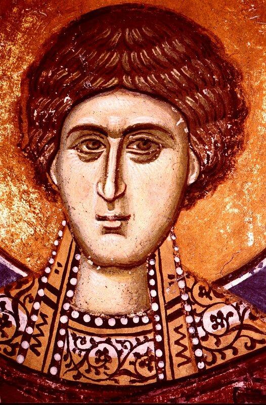 Святой Великомученик и Целитель Пантелеимон. Фреска монастыря Высокие Дечаны, Косово, Сербия. Около 1350 года.
