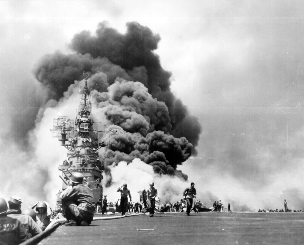 """USS BUNKER HILL hit by two Kamikazes in 30 seconds on 11 May 1945 off Kyushu. Dead-372. Wounded-264."