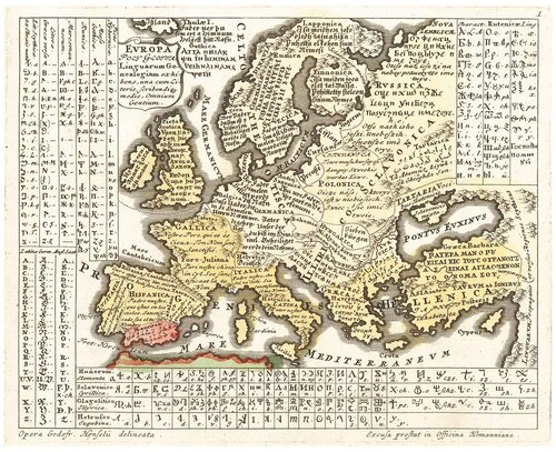 языковая карта Европы изъ книги Годфрида Хензеля (Gottfried Hensel)