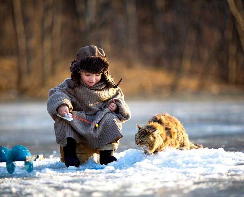 рыбалка ребенок кот