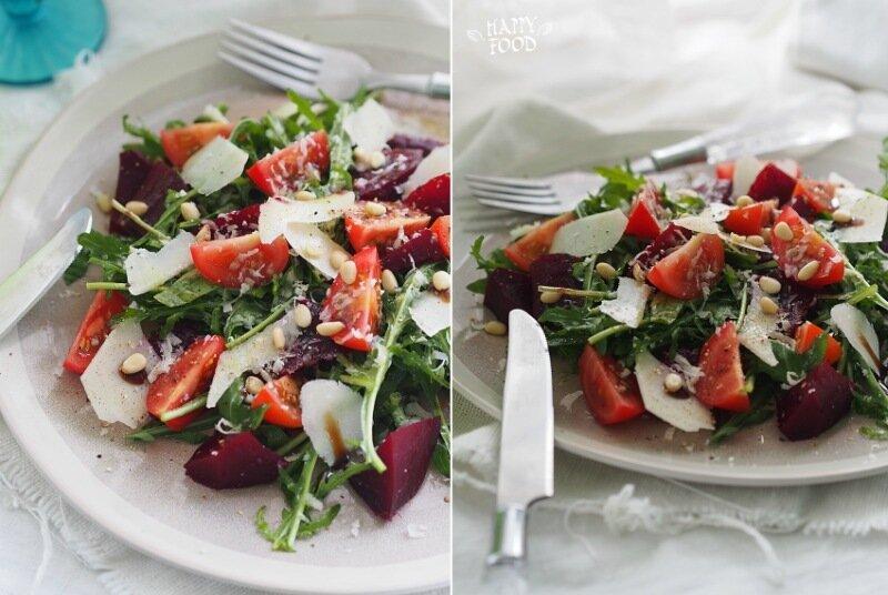 Салат с черри,  запеченной свеклой и пармезаном