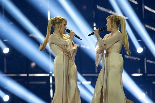 COPENHAGEN, DENMARK - MAY 06: Anastasia and Maria Tolmachevy of the Tolmachevy Sisters from Russia perform on stage during the first Semi Final of the Eurovision Song Contest 2014 on May 6, 2014 in Copenhagen, Denmark. (Photo by Ragnar Singsaas/Getty Imag