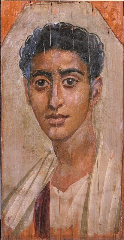 Anonymous (Egyptian). 'Male Portrait Mask,' late 1st century. encaustic (wax, pigments) on wood. Walters Art Museum (32.3): Acquired by Henry Walters, 1913.
