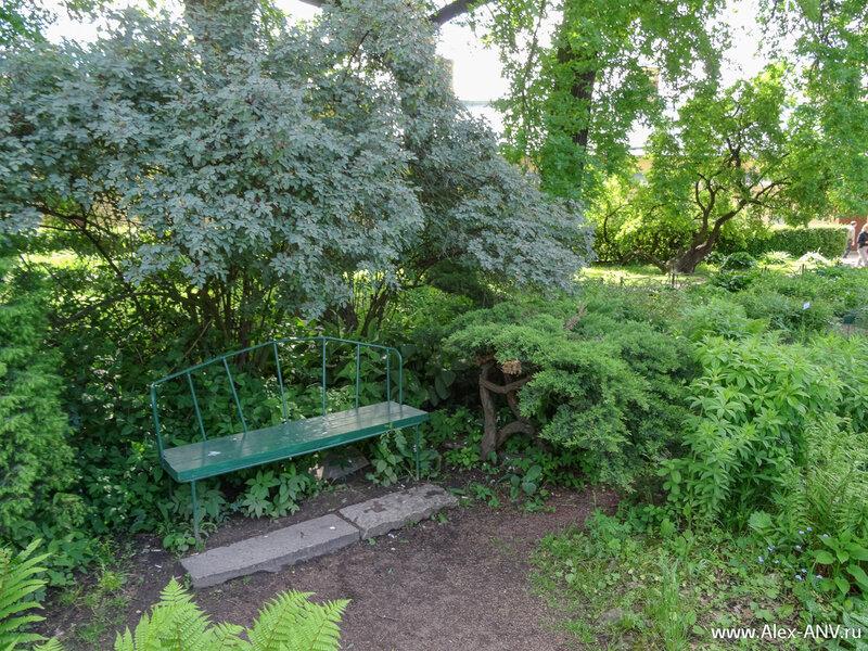 В цветнике установлены вот такие уютные скамеечки. Пожилые посетители их очень любят.