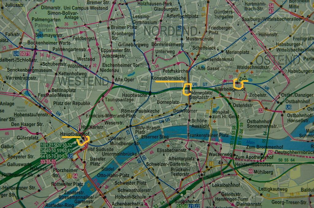 Схема: как добраться от центрального железнодорожного вокзала Франкфурта Hauptbahnhof в зоопарк Zoo Frankfurt