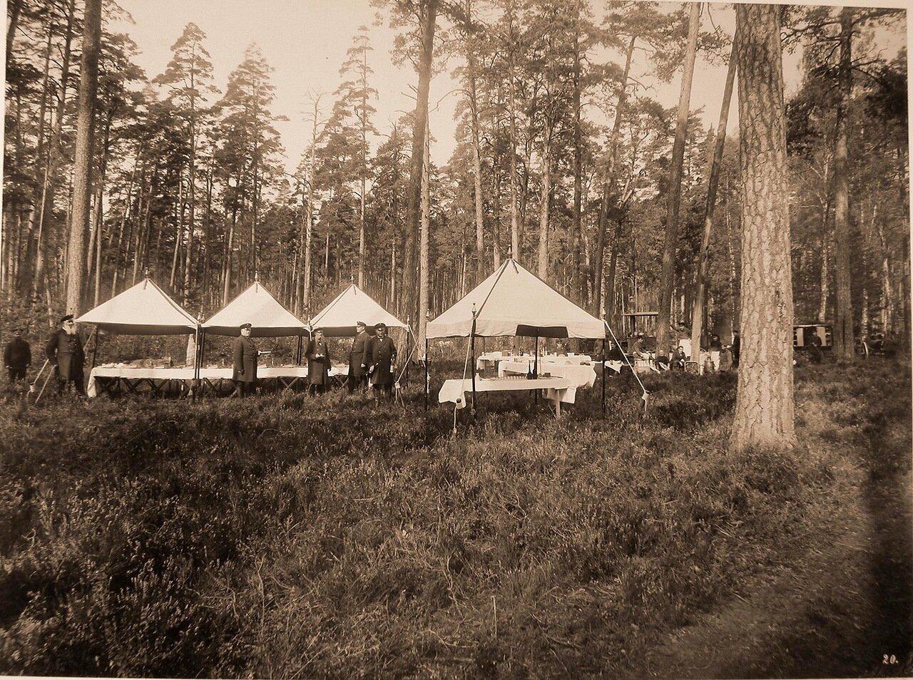 44. Повара и прислуга за приготовлением обеда в лесу для участников охоты - членов императорской фамилии и гостей