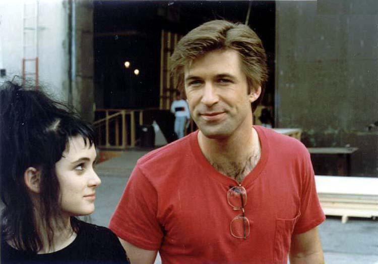 Вайнона Райдер и Алек Болдуин на съемках фильма «Битлджус», 1988 год