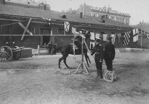 Рубка каната на полном скаку во время конных состязаний в бригаде на плацу.