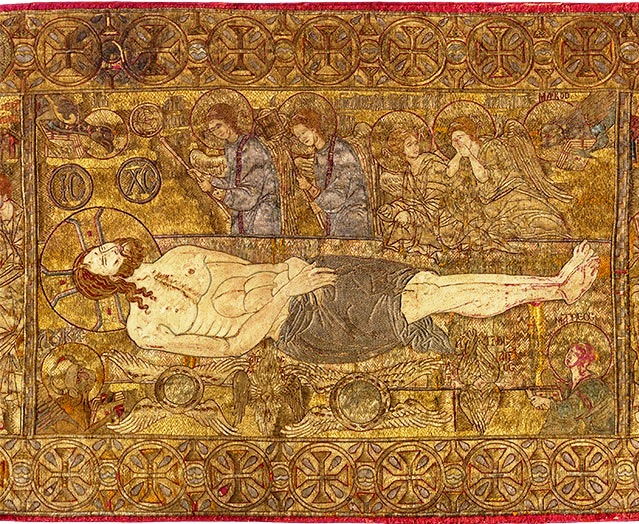 Liturgical Cloth, The Thessaloniki Epitaphios (detail), about A.D. 1300, Thessaloniki, Greece; silk, gold, silver, and linen. Courtesy of the Museum of Byzantine Culture, Thessaloniki.jpg