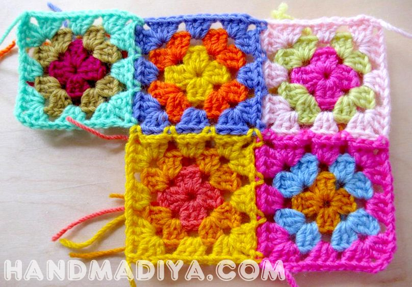 Яркий плед из квадратов. Knit crochet plaid.
