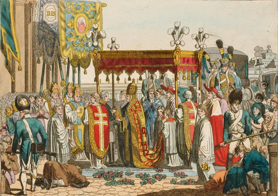 Pope Pius VII in Rome, German watercolored etching, 1815-20.jpg