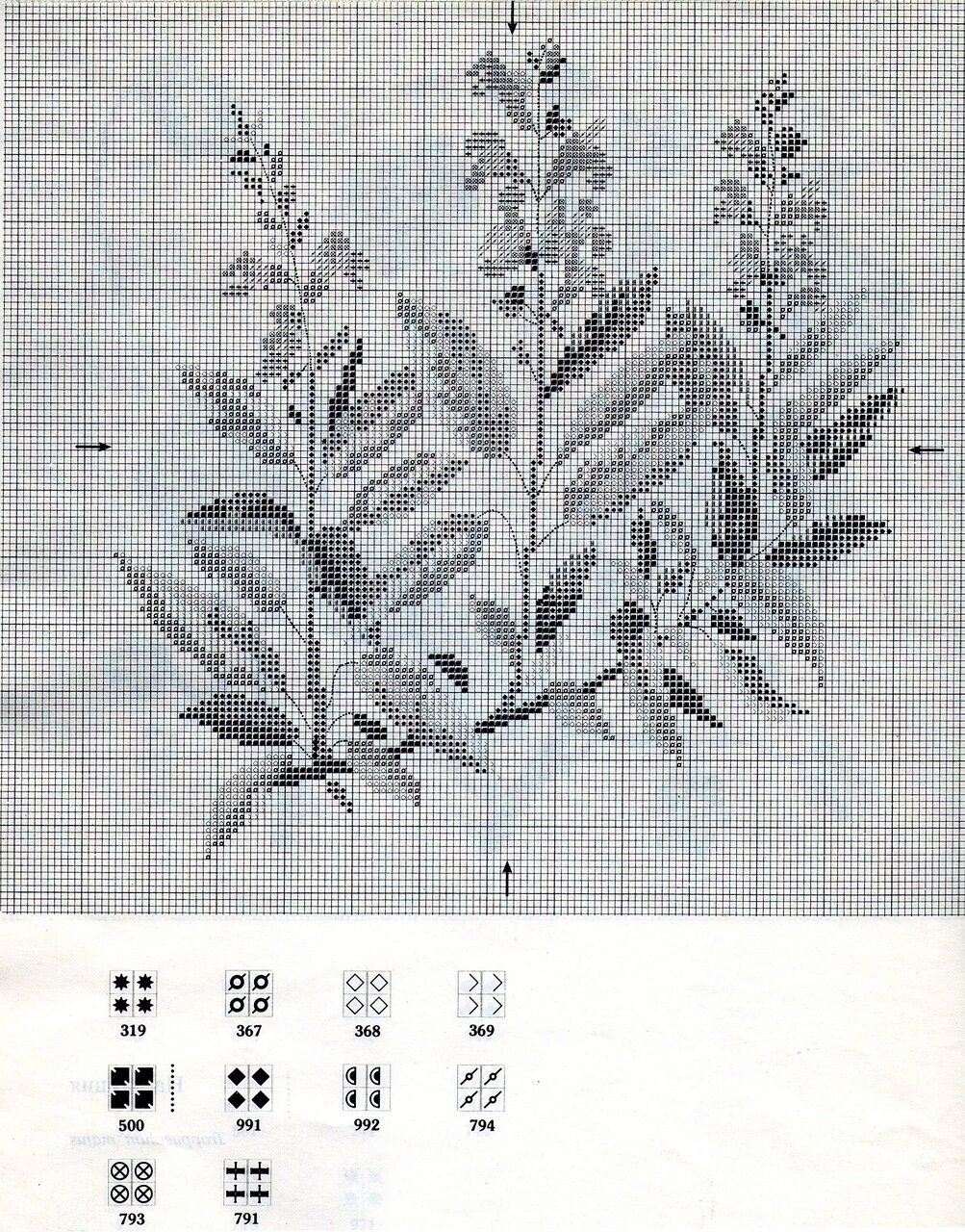 Схема вышивки растений крестом