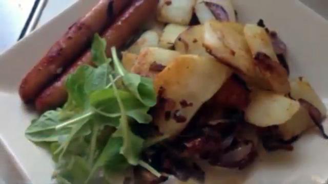 рецепт жареной картошки с красным луком