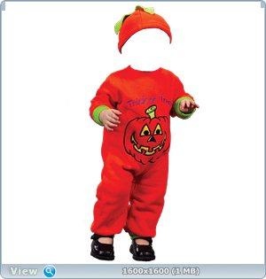"""Бесплатный детский шаблон для фотошопа """"Тыква Хэллоуин"""""""